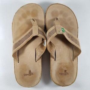 Sanuk Leather Sandals Flip Flops Slippers SZ 9 Tan